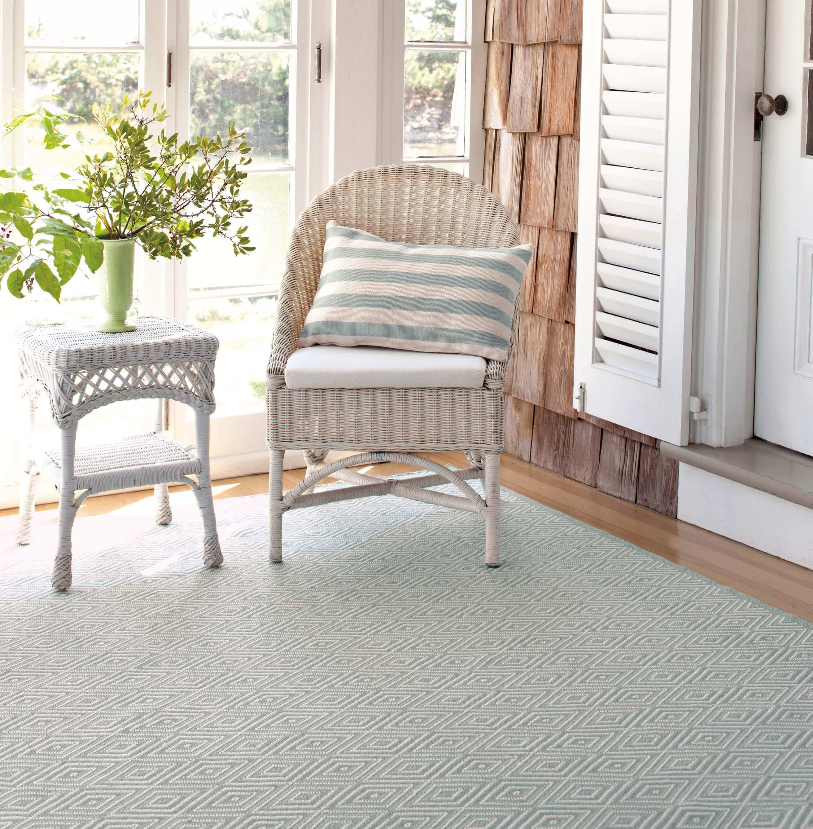 Diamond Light Blue/Ivory Indoor/Outdoor Rug by Dash & Albert